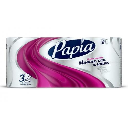 Papia белая 8 шт (3 сл) бумага туалетная
